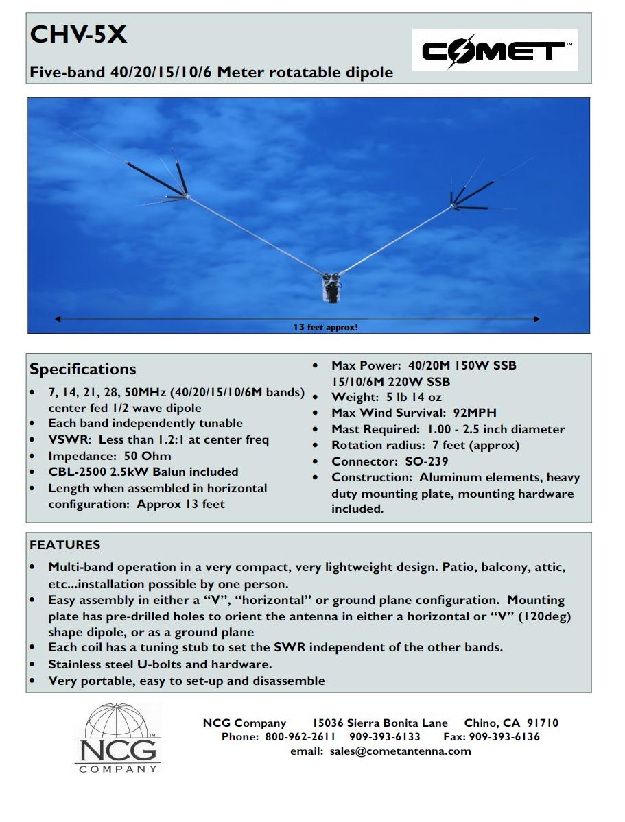Comet CHV-5X 5 Band HF / 6M Compact Rotatable Dipole Product Flyer ...