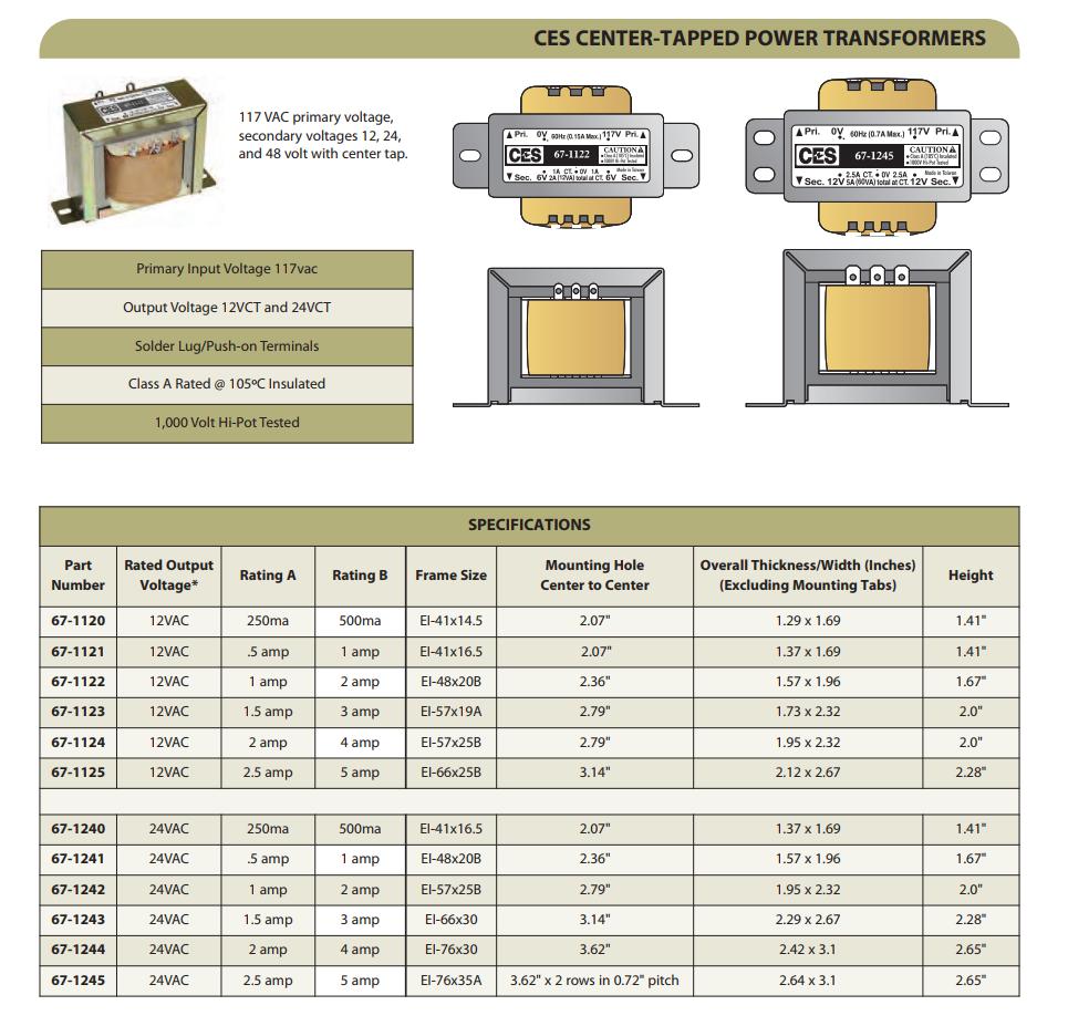 CES Center-Tapped Power Transformer - 120VAC/12VAC 5-AMP - CES-67-1125